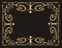 Gold frame on black background. Illustration Royalty Free Stock Photos