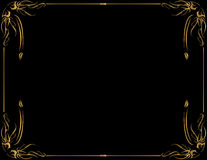 Gold frame on black background. Gold frame on a black background with room for copy Royalty Free Stock Images