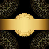 Gold frame on a black background. Royalty Free Stock Photography