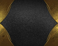 Gold frame on black texture. Element for design. Template for design. copy space for ad brochure or announcement invitation, abstr Stock Images