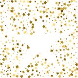 Gold frame or border of random scatter golden stars on white bac. Kground. Design element for festive banner, birthday and greeting card, postcard, wedding Royalty Free Stock Image