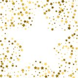 Gold frame or border of random scatter golden stars on white bac. Kground. Design element for festive banner, birthday and greeting card, postcard, wedding Stock Photo