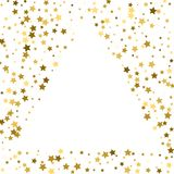Gold frame or border of random scatter golden stars on white bac. Kground. Design element for festive banner, birthday and greeting card, postcard, wedding Royalty Free Stock Photography
