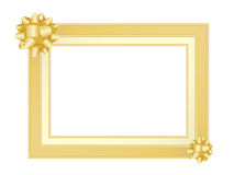 Gold frame with bows Royalty Free Stock Image