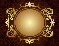 Gold frame on brown damask pattern background Royalty Free Stock Photography