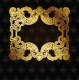 Gold Frame On Brown Ornate Background Royalty Free Stock Images