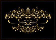 Gold frame from calligraphic ornaments and ribbons on a black background Royalty Free Stock Images