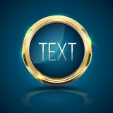 Gold frame circle on blue background. Royalty Free Stock Images