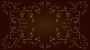 Gold frame on dark background Royalty Free Stock Images