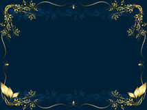Gold frame on a dark bue background Royalty Free Stock Image