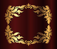 Gold frame on the dark red background Royalty Free Stock Photo