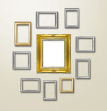 Gold Frame decor on wallpaper with light flare. Stock Photos