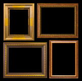 Gold frame Elegant vintage Isolated on black background Stock Photos