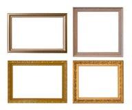 Gold frame Elegant vintage Isolated on white background Stock Photos