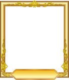 Gold frame floral. Abstract gold frame floral line art design for picture and name text box Stock Image