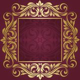 Gold frame. Floral border. Abstract flower beckground Royalty Free Stock Photography