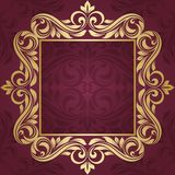 Gold frame. Floral border. Abstract flower beckground Stock Photos