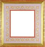 Gold frame with floral decorative passe-partout. Beautiful gold frame with floral decorative passe-partout for painting or picture Stock Photography