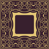 Gold frame with floral ornamental Royalty Free Stock Image