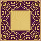 Gold frame with floral ornamental Royalty Free Stock Images