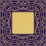 Gold frame with floral ornamental royalty free illustration