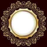 Gold frame with floral ornamental Stock Photography