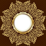Gold frame with floral ornamental Stock Image
