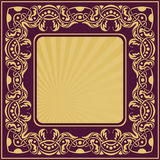 Gold frame with floral ornamental Stock Photo
