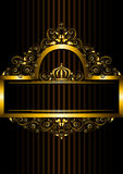 Gold frame with floral pattern and crown Stock Photos