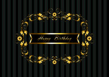 Gold frame with floral pattern and ribbon Happy Birthday Royalty Free Stock Image