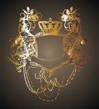 Gold frame flower 01. Black and gold-colored floral-patterned frame on the floor of graphic design vector illustration