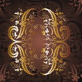 Gold frame flower 16. Coffee on the floor and gold-colored floral frame graphic design Royalty Free Stock Photos