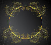 Gold frame with flowers Royalty Free Stock Photography