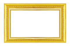 Gold frame. Gold/gilded arts and crafts pattern picture frame. Isolated on white Royalty Free Stock Images
