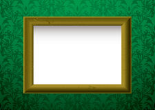 Gold frame on green Royalty Free Stock Photos