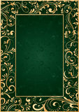Gold frame on green background. Decorative template for text, illustration Royalty Free Stock Photos