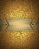 Gold frame on grunge yellow background. Element for design. Template for design. copy space for ad brochure or announcement invita Stock Image