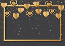 Gold frame and hanging hearts shape on black background. Happy valentine`s day greeting card with golden frame and hearts hanging on black background.Vector Stock Photos
