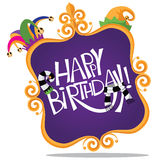 Gold frame Happy Birthday design  Stock Photos