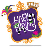 Gold frame Happy Purim design isolated Stock Photo