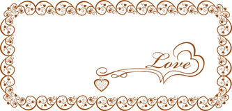 Gold frame with hearts for congratulation.For lovers Royalty Free Stock Images