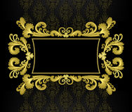 Gold Frame In The Rococo Style On A Black Backgrou Royalty Free Stock Photos