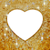 Gold Frame In The Shape Of Heart. EPS 8 Stock Images