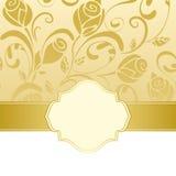 Gold frame invitation. Golden floral frame invitation background Stock Image