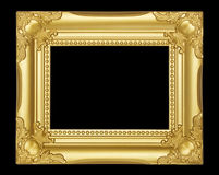 Gold  frame isolated on black background Royalty Free Stock Photography