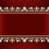 Gold frame with jewelry borders on red background Stock Images