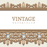 Gold frame with jewelry borders on white. Vintage gold background, jewellery frame with diamond jewelry borders on white Vector Illustration