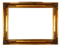 Gold frame with lamp stock photos