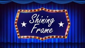 Gold Frame Light Bulbs Vector. Blue Background. Theater Curtain. Silk Textile. Shining Retro Light Banner. Realistic. Blue Theater Curtain With Gold Frame Vector stock illustration