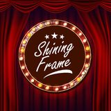 Gold Frame Light Bulbs Vector. Red Background. Theater Curtain. Silk Textile. Shining Retro Light Banner. Realistic. Gold Frame Light Bulbs Vector. Red stock illustration